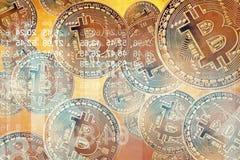 Flyg Bitcoin som mest viktigt cryptocurrencybegrepp Crypto valuta guld- Bitcoin, BTC, bitmynt Närbild Blockchain Fotografering för Bildbyråer