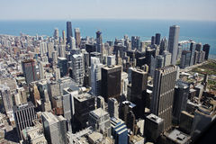 flyg- chicago i stadens centrum sikt Arkivfoton