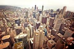 flyg- chicago i stadens centrum sikt Arkivbilder