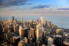 flyg- chicago i stadens centrum sikt Royaltyfri Bild