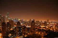 flyg- chicago nattsikt Royaltyfri Foto