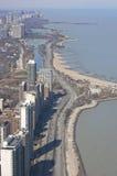flyg- chicago nordlig shoreline Arkivfoto