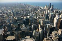 flyg- chicago sikt Fotografering för Bildbyråer