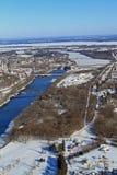 Flyg- Chippewadal Wisconsin för vinter Arkivfoto