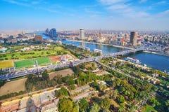 Flyg- cityscape för Kairo, Egypten arkivfoto