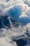 Flyg- cityscape för vinter av Moskvaområdet Royaltyfria Bilder