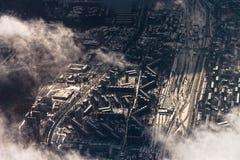 Flyg- cityscape för vinter av Moskvaområdet Royaltyfri Foto