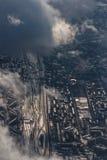 Flyg- cityscape för vinter av Moskvaområdet Arkivfoton