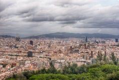 Flyg- cityscapesikt av Barcelona, Catalonia, Spanien Arkivfoton