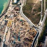 Flyg- cityscapesikt med byggnadskonstruktion Hong Kong Royaltyfri Bild