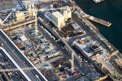 Flyg- cityscapesikt med byggnadskonstruktion Hong Kong Arkivfoto