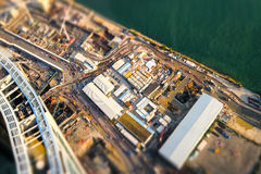 Flyg- cityscapesikt med byggnadskonstruktion Hong Kong Arkivfoton