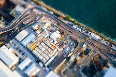 Flyg- cityscapesikt med byggnadskonstruktion Hong Kong Royaltyfria Bilder