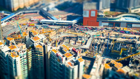 Flyg- cityscapesikt med byggnadskonstruktion Hong Kong til Royaltyfri Foto