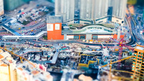 Flyg- cityscapesikt med byggnadskonstruktion Hong Kong til Arkivfoton