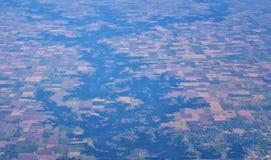 Flyg- Cloudscape sikt över midwest stater på flyg över Colorado, Kansas, Missouri, Illinois, Indiana, Ohio och West Virginia du arkivfoton