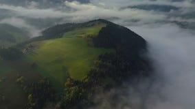 Flyg- dimmigt landslandskap i ovannämnda moln för morgonljus med härliga färger på soluppgång Lutande ner på äng och mistskog stock video