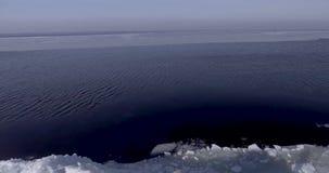 Flyg- dronsikt av den unga aktiva lyckliga mannen som blir på isglaciärerna nära kustlinjen av vinterhavet som skakar handen surr lager videofilmer