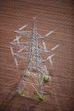flyg- elektricitetspylon Royaltyfri Foto