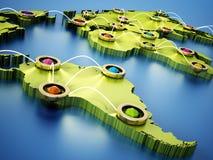 Flyg- eller internetnätverk på världskartan 3D illustration 3d Arkivfoto