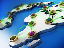 Flyg- eller internetnätverk på världskartan 3D illustration 3d Royaltyfri Bild