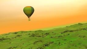Flyg för ballong för varm luft på kullen - 3D framför vektor illustrationer