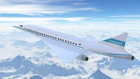 Flyg för bangflygbolagflygplan i himlen illustration 3d Arkivbilder