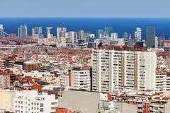 flyg- för columbus kolonn de område för colom för barcelona barcelonetacityscape sikt för gata passeig höger sida sedd Arkivbilder