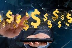Flyg för dollartecken runt om en nätverksanslutning - 3d framför Arkivfoto