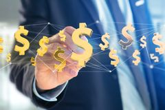 Flyg för dollartecken runt om en nätverksanslutning - 3d framför Arkivfoton