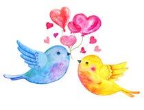 Flyg för förälskelsefågelpar med hjärtaballonger Utdragen vattenfärgillustration för hand för St-valentin dag royaltyfri illustrationer