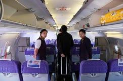flyg för flygbolagdeltagareporslin Arkivfoton