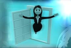 flyg för kvinna 3d ut ur fönsterillustration Royaltyfri Fotografi