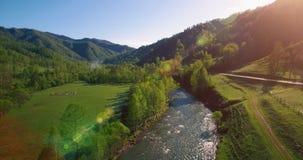 Flyg för mitt- luft över den ny bergfloden och äng på den soliga sommarmorgonen Lantlig grusväg under lager videofilmer
