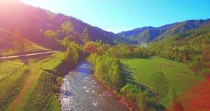 Flyg för mitt- luft över den ny bergfloden och äng på den soliga sommarmorgonen Lantlig grusväg under arkivfilmer