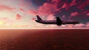 Flyg för passagerarenivå över Stilla havet på soluppgång royaltyfri illustrationer