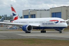 Flyg för prov för British Airways splitterny dreamliner B787-8 arkivbild