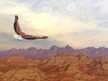 Flyg för skallig örn på steniga berg - 3D framför stock illustrationer