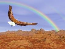 Flyg för skallig örn på steniga berg till regnbågen - 3D framför Royaltyfri Bild