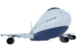 Flyg för vit nivå Flygplan Boeing 747 isolate Royaltyfri Bild