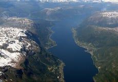 flyg- fjordssikt Arkivfoton