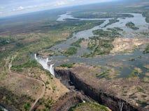 Flyg- fotografi Victoria Falls Arkivbild
