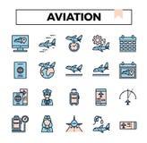Flyg fylld uppsättning för översiktsdesignsymbol stock illustrationer