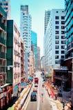 Flyg- gatasikt i glåmiga Chai, Hong Kong Royaltyfri Foto