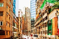 Flyg- gatasikt i glåmiga Chai, Hong Kong Royaltyfri Bild