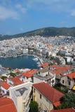 flyg- greece kavala townsikt Royaltyfria Bilder
