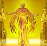 Flyg in i egyptisk fantasi stock illustrationer