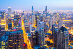Flyg- i stadens centrum Chicago stad Arkivfoto