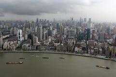 flyg- i stadens centrum shanghai sikt Royaltyfria Foton