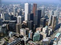 flyg- i stadens centrum toronto sikt arkivbild
